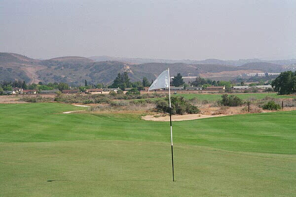 A view down the 5th shows the wash that the golfer must cross.