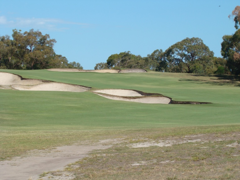 Diagonal hazards encased in short grass create far more playing interest than hazards along the fairway's edge. Leave it to the Australians to get it right with the short uphill 6th on the North Course at Peninsula Country Club a prime example.