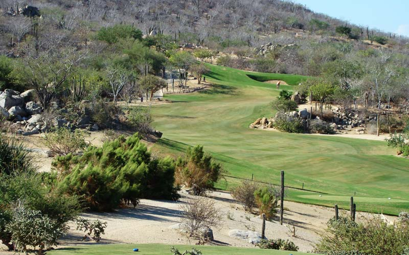 The short par four sixth at the Desert Course - and yes, there is lots more fairway left of the rock outcropping.