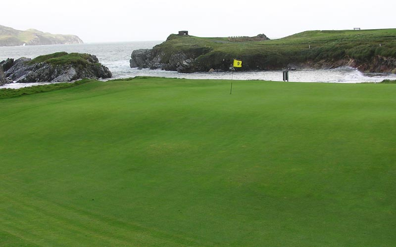 The ninth green as seen from behind at the hidden gem Dunfanaghy.