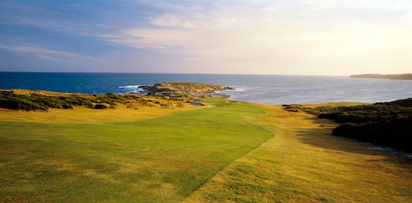 Scaletti's sunset shot of the fifth at New South Wales as the golfer charges over the hill out to the ocean.