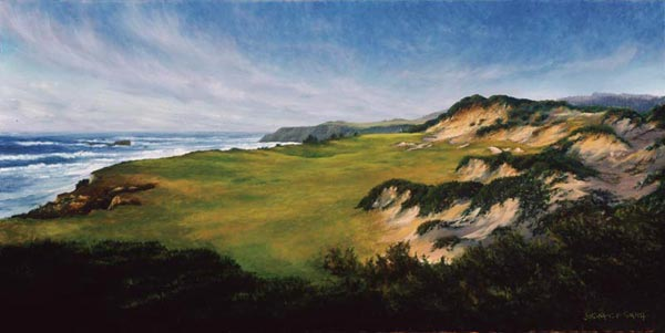 Smith brilliant use of texture highlights the rugged exposed dunes at the thirteenth at Pacific Dunes.