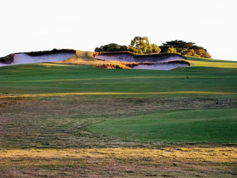 The bunkers cut into the crest of the hill lend flair and a sense of drama to the uphill tee ball.