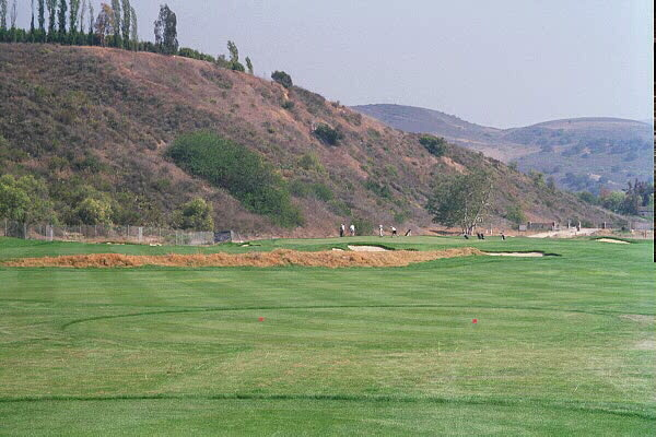While the safe play off the 3rd tee is toward the right, the golfer who crosses the brown ridge that separates the upper and lower fairway with his tee ball is afforded the better angle for most of the hole locations.