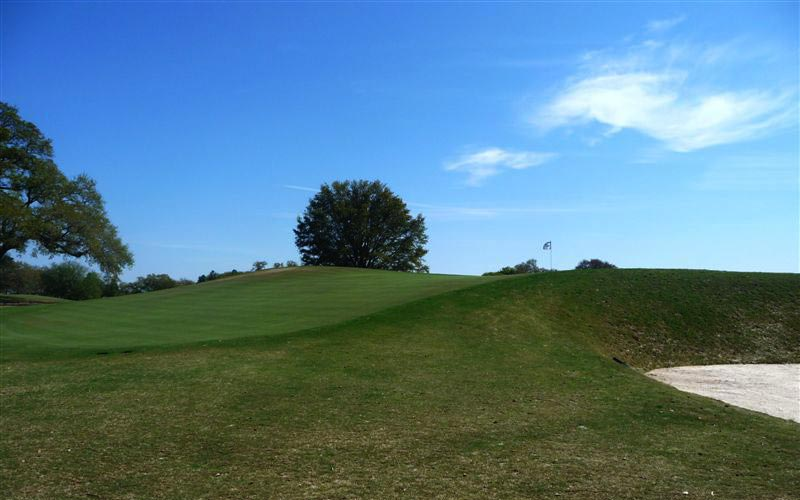 The steepness of the green's false front is captured here in this photograph taken from the green's front right.
