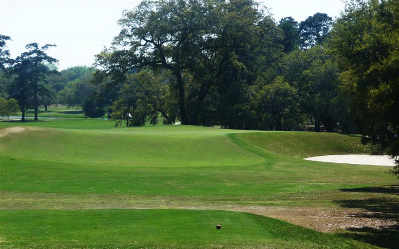 One of the most famous - or infamous - holes in the southeast is the eleventh hole. Many consider this Raynor's most penal Redan as severe trouble lurks everywhere.