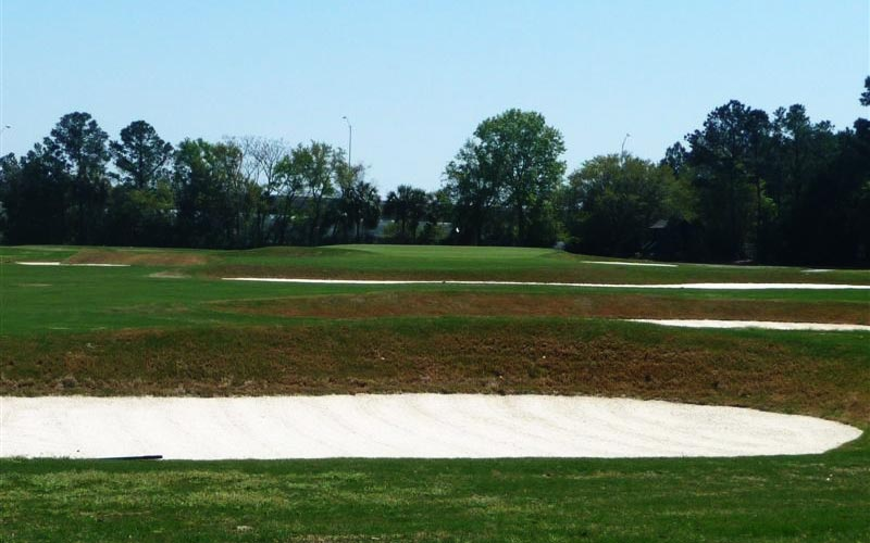 Raynor always found ways to knock good golf quality into his holes. Here at the par five fifth, he used cross hazards in the second shot landing zone to lend the hole its primary interest.