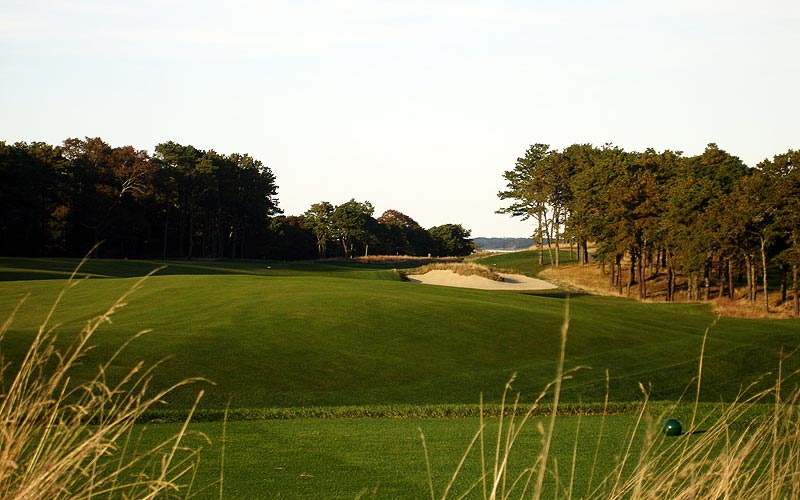 One of only two fairway bunkers on the three par five holes is found here off the seventeenth tee. It was one of the last bunkers restored under Foster's guidance and it was one of the most important to be returned as well.