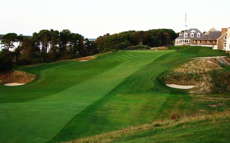 ...how the fairway plunges before beginning a long, slow climb to the Home green and clubhouse.