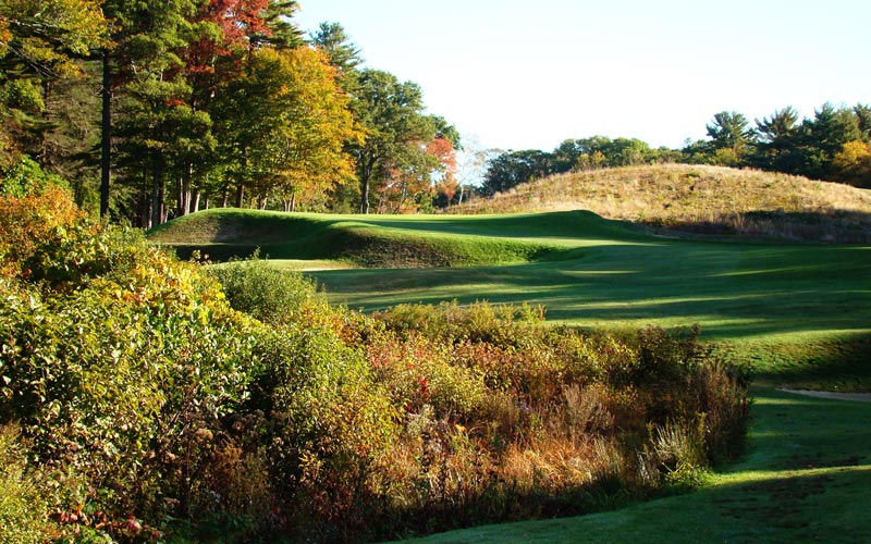 Can you imagine a finer golf hole?! Pictured is the uphill one shot eleventh at Essex County.