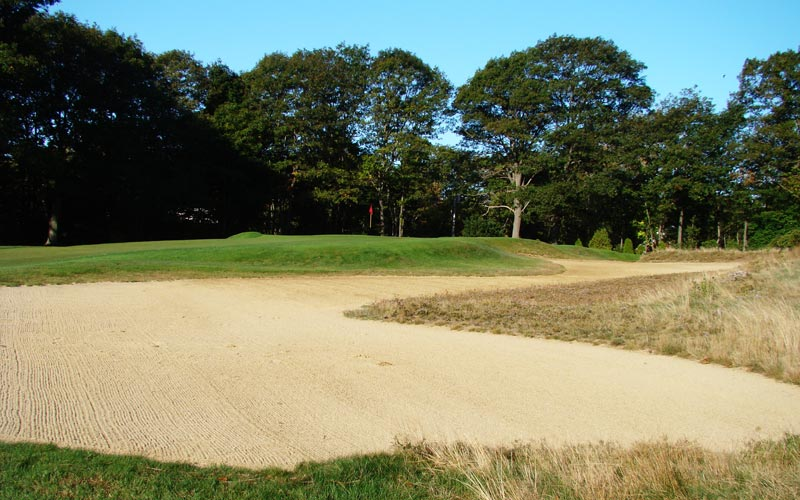 This S shaped bunker extends well back into the fairway from the sixth green.