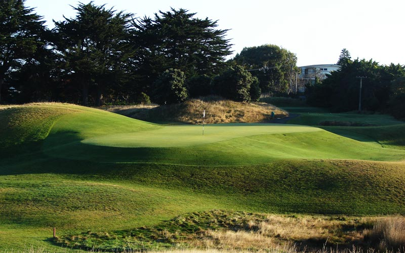The narrow but deep sixteenth green is difficult to hit, especially with any wind. Though bunkerless, it is a prime example of how to construct a sub-150 yard hole that is still vexing.
