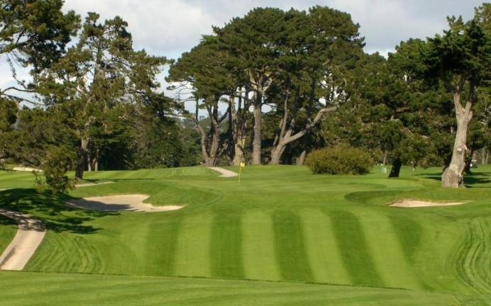 The par three twelfth at Lake Merced; note the bunker on the left side which is six to eight feet deep.