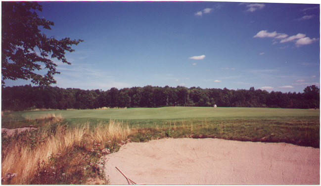 . . . but the fun really begins at the green.  This view from the back right bunker shows the bowl in