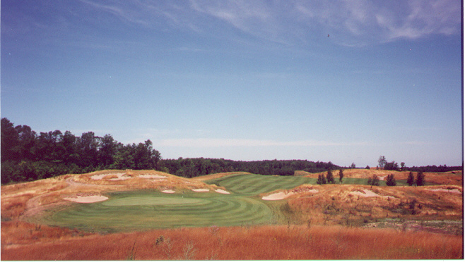 . . . but this view from the 4th tee shows the drop-off to the player's left of the green.