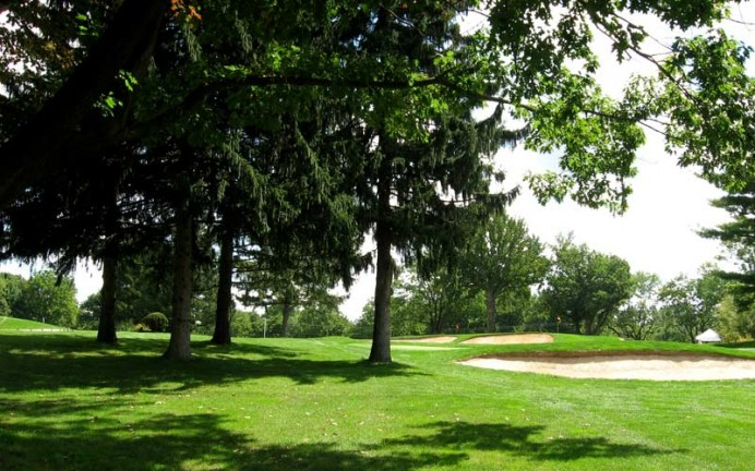 Stand of four tall pines left of second green.