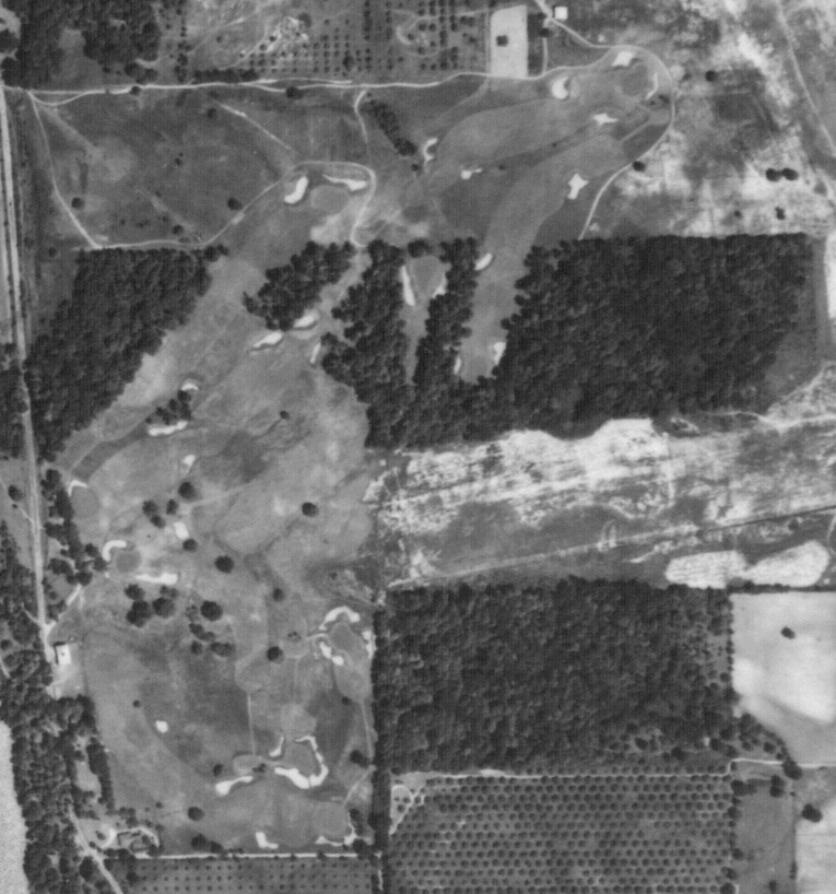 This 1939 aerial served as the bench mark for the Weed restoration. The dogleg left 1st is seen in the lower left of the photograph, followed by the two heavily bunkered one shotters in opposite directions, the great dogleg left 4th, then up to the 5th. The 6th is in the top right of the photograph while the 7th heads into the property's wooded portion. The 8th is the sole hole played entirely in trees and the 9th emerges from the forest and provides a roller-coaster finish across two valleys.