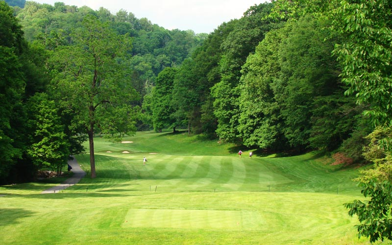 With a stream left and tree-lined hillside right, the golfer's task is clear. He needs to hit driver to cover the distnace and if he can find the fairway, the good news is that he should have a relatively level stance, something he may not have seen much of to this point in the round.