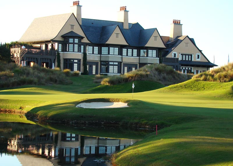 The grand clubhouse at Cassique lords over the course from its elevated perch.
