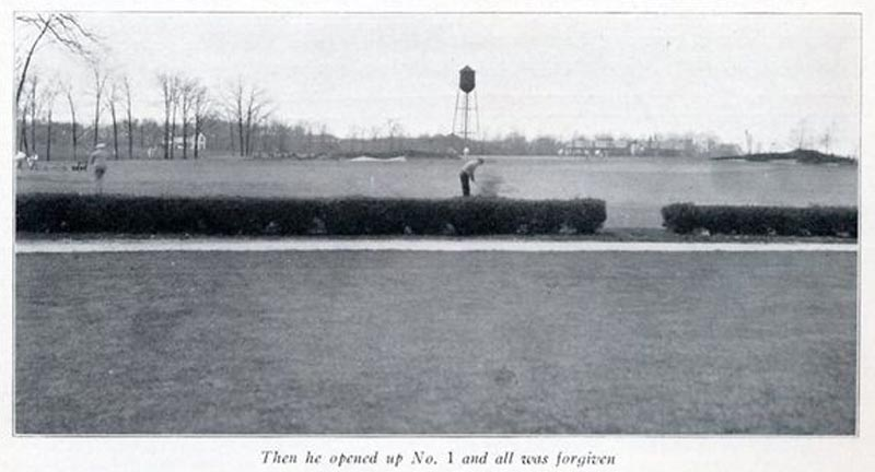 The first tee from 1922 showing the bunkers.