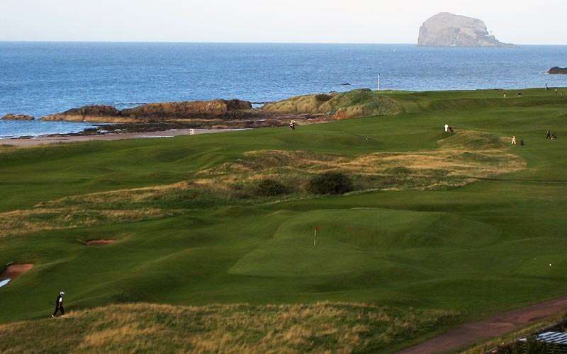 The fabulous landscape of North Berwick with its one-of-a-kind sixteenth green seen in the bottom middle.