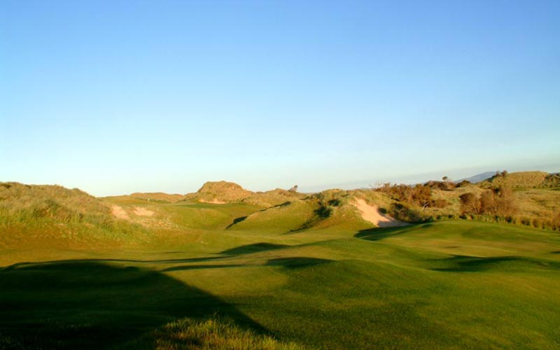 Golfers - and architects - frequently need to travel to remote spots to find the most thrilling land forms. Pictured above is the eighth at Barnbougle Dunes on the island of Tasmania.