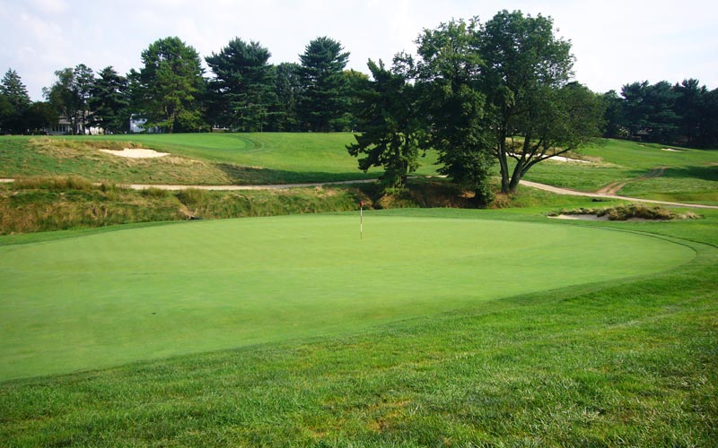 As seen from high right, the fifth green is one of the greatest 'lay of the land' greens ever devised by man.