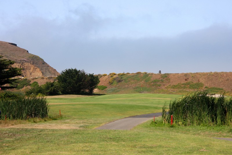 This hole original was a short par 4 with double tees and a routing that crossed a corner of the lagoon. Today, it is a stout three par, backed against the sea wall with ocean breezes always in play.