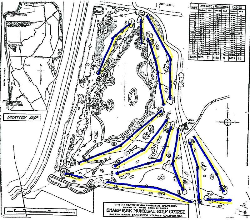 "As shown on this map of the original MacKenzie layout, 12 of the original holes are still in play.  A portion of another hole is in use, and remnants of several ""lost holes""  remain in the dunes west of the lagoon."