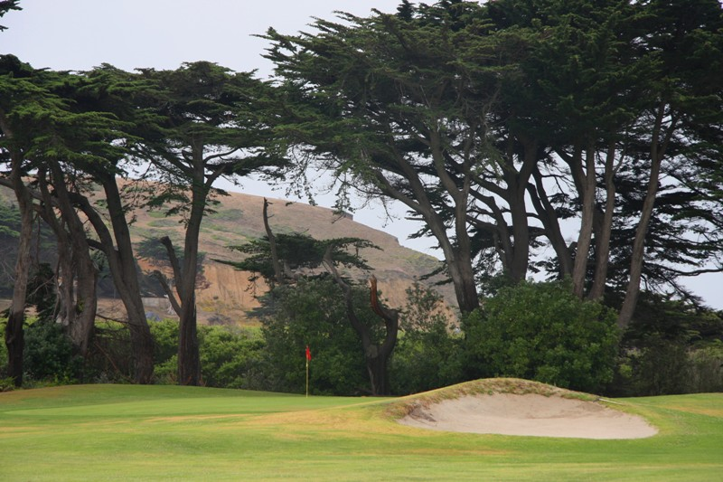 This par 5 was the original 17th hole.  The green is framed beautifully by cypress trees, planted by John McLaren, the man who created Golden Gate Park.  MacKenzie credited him with planning around the golf course to enhance the beauty of the natural landscape.