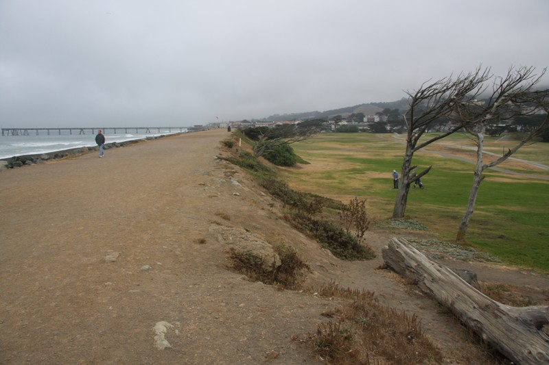 This sea wall protects the course from the ocean, which is only a wedge shot away.  Two of MacKenzie's original holes were right on the beach, but erosion and flooding forced the City to move inland with the construction of four new holes in 1941.