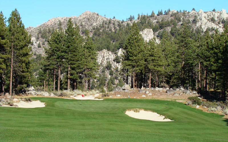 In a setting like this, it is incumbent on the architect to maximize the experience but never at the expense of good golf. The placement of the sixteenth green and the selective tree clearing that ensued provides a mighty backdrop. The deceptively deep green makes depth perception a tricky affair.