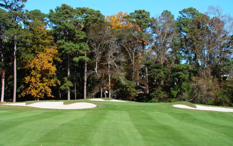 As the green features the boldest interior contours on the course, the golfer feels the pressure to get within 120 yards or so of the green with his second.