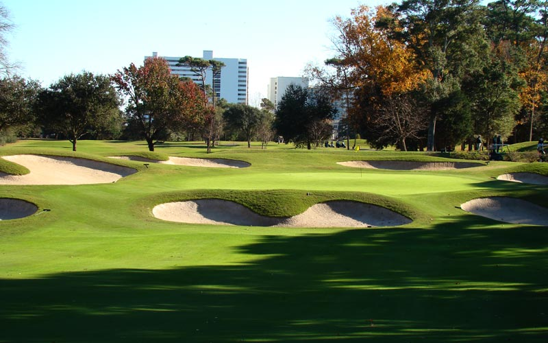 Rung with bunkers, the two tiered sixteen green calls for a precise approach.