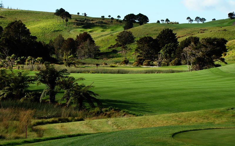 Kauri Cliffs golf course Julian Robertson, golf in New  Zealand, David Harman, The eleventh fairway is an important one to find off the tee as otherwise...