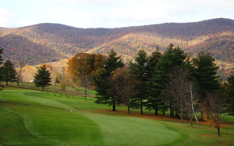 Apart from being the best hole on the course, the sidehill eleventh also affords one of the best long views from the course of the surrounding mountains.