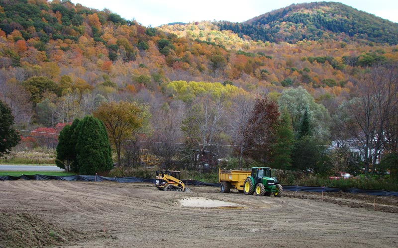 A boomerang green starts to take shape during the fall of 2009 when the seventeenth was closed for play.