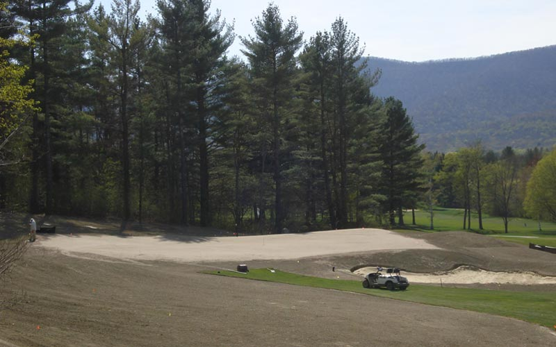 As seen during construction in 2008, the newly created first green ended up featuring some of the best interior contours on the course.