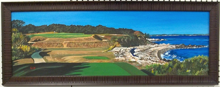 "An early C.B. Macdonald ""Biarritz"" hole, #5, at the prestigious Fishers Island course on Long Island, NY. Painting is based on a photo taken by Jon Cavalier."