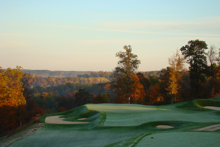 The one shot fourth at the Pete Dye golf course at French Lick.