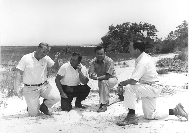 Nicklaus, Donald O'Quinn, Charles Fraser and Pete Dye at Harbour Town, pre-construction. (Courtesy of the Nicklaus Archives)