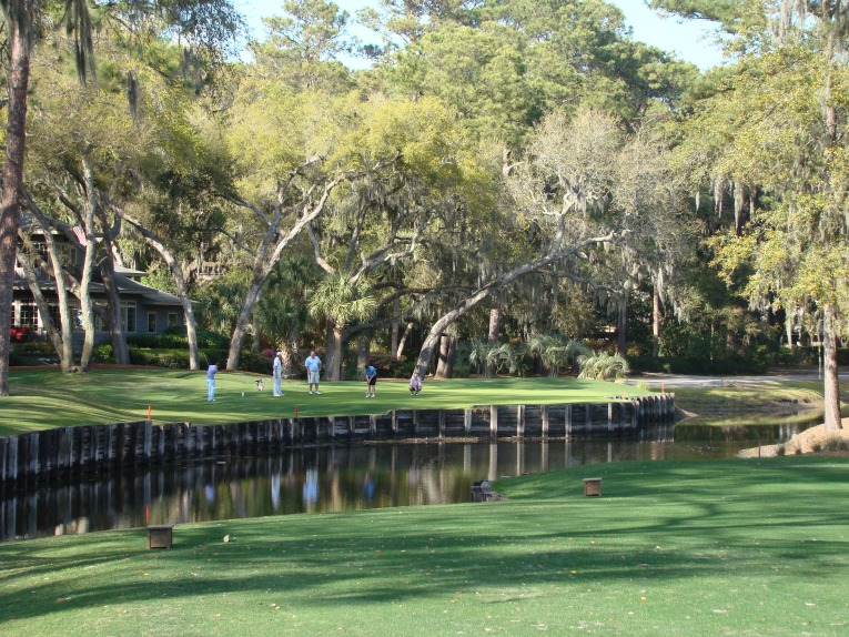 Harbour Town measured under 6,700 yards when it opened and set a new standard for interesting targets. Above is the one shot 14th. It measured 152 yards when Nicklaus fired a course record 63 in 1975. It measures 192 yards today to accommodate for changes in the ball.