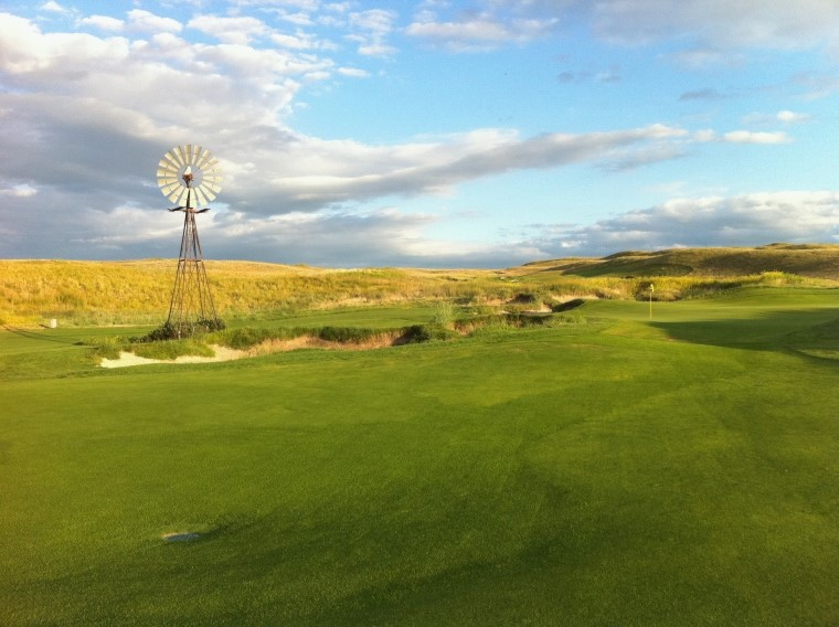 Nicklaus insisted that the working windmill stay put. In fact, the green's orientation was carefully sculpted so that it is a mere forty yards from the front edge of the green. Its presence is amplified by front left hole locations.