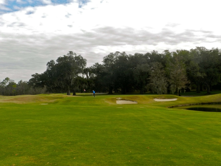 The background of live oaks lends much appeal to the par 5 ninth at Audubon Park.