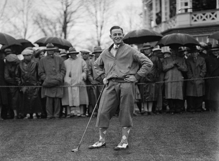"In 1928, a year after setting the course record at Quogue, Phillips Finlay—having been ""out-driven, out-pitched and out-putted with monotonous regularity,"" according to the Associated Press—lost 13 and 12 to Bobby Jones in the semifinals of the 32nd U.S. Amateur, which Jones went on to win (Credit: Library of Congress)."
