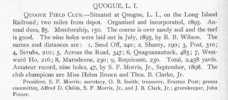 """Requiesate,"" the name of the original closing hole at Quogue, appears to be a misspelling of either the plural imperative or the hortatory subjunctive of the Latin word ""requiescere,"" typically translated as ""rest,"" but also as ""quiet down"" and ""end."""