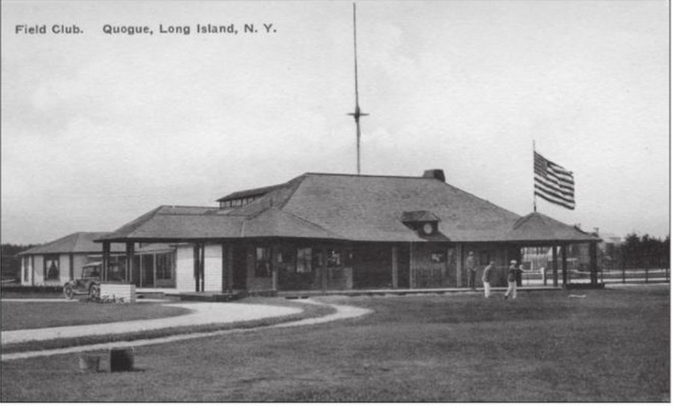 The original QFC clubhouse, after having been moved to its current location in advance of the 1901 season. At right, a golfer plays off the original and current first tee of Bendelow's nine-hole course (Credit: Quogue Historical Society).