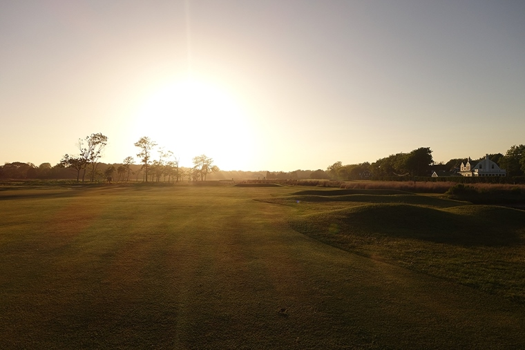 Quogue's enviable turf—here, looking back down the 5th—shines as sunset approaches.