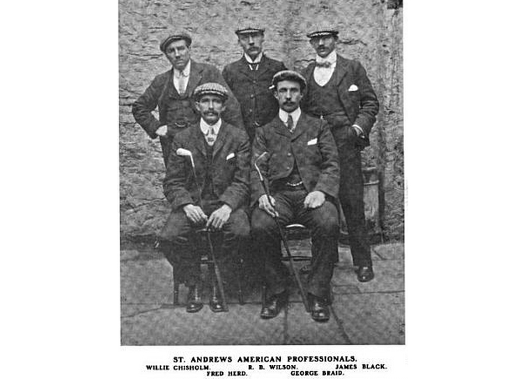 Wilson, at back middle, was a well-known clubmaker in St. Andrews before coming to America. After serving as the head professional at Shinnecock Hills, he moved on to the Hartford Club in Connecticut (Credit: Golf Illustrated).