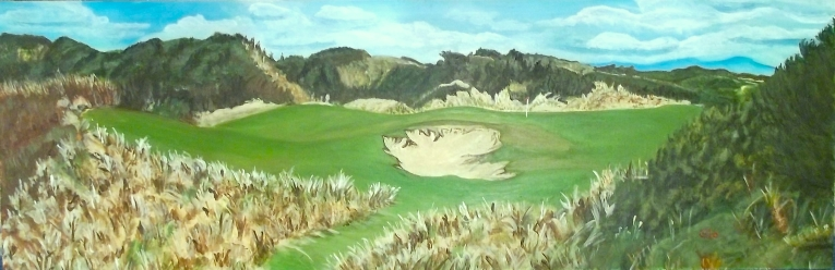 "This 12x36"" acrylic painting is a panoramic view of hole 13A (one of two ""extra"" holes) at the Coore&Crenshaw Lost Farm course at the Barnbougle Dunes resort on the North East shore of the Australian island of Tasmania. This links course, a neighbor to the Tom Doak-Mike Clayton Dunes course, is situated on what the Australian press calls a little bit of golfing paradise. This work is the latest in what is developing into my ""Benjamin Litman Portfolio,"" a series of works based on Benjamin's superb photos."